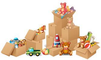 Lådor fulla av leksaker och björnar