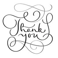 Hand gezeichneter Vektor danken Ihnen, auf weißem Hintergrund zu simsen. Kalligraphiebeschriftungsillustration EPS10