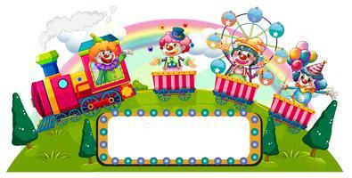 Clowner som kör på tåget