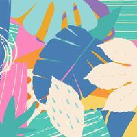 Tropischer Dschungel verlässt und blüht Hintergrund. Buntes tropisches Plakatdesign. Exotische Blätter, Blumen, Pflanzen und Zweige Kunstdruck. Botanisches Muster, Tapete, Gewebevektor-Illustrationsdesign