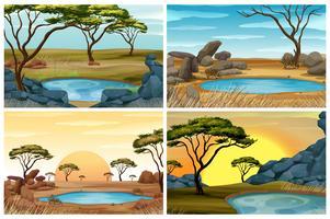 Fyra scener av savannfält med vattenhål