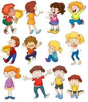 Barn leker och vinnande vektor
