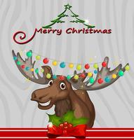 Weihnachtskartenschablone mit Ren und Lichtern vektor