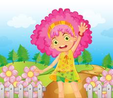 Ein lächelndes Mädchen mit roten Haaren