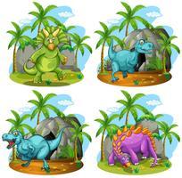 Fyra dinosaurier står i fältet