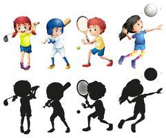 Pojkar och tjejer gör sport vektor