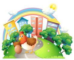 Eine Henne und ihr Ei an der Straße vektor