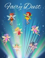 Fairies som flyger med starkt ljus i bakgrunden