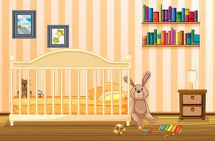 Schlafzimmerszene mit Babybett- und Kindereinzelteilen