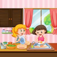 Schwester Reinigung Geschirr in der Küche vektor