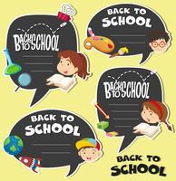 Tillbaka till skolan tecken med barn vektor