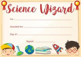 Certifikatmall för science wizard vektor