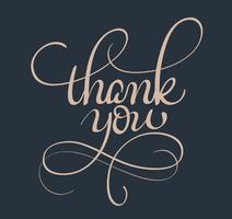 Danke text. Kalligraphie, die Vektorillustration EPS10 beschriftet vektor
