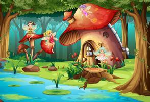 Feen, die um Pilzhaus fliegen