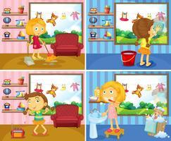 Mädchen, das Aufgaben im Haus tut