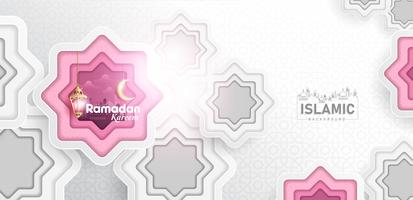 Ramadan Kareem Bakgrunds papperskonst eller pappersskuren stil med Fanoos-lykta, Crescent Moon & Mosque Background. För webb banner, hälsningskort och kampanjmall i Ramadan Holidays 2019.