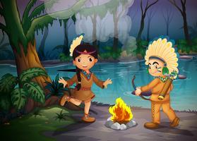 Zwei junge Indianer am Wald vektor