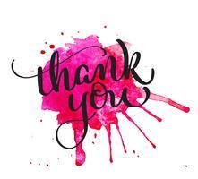 Danke, Text auf rotem Fleck des Aquarells zu schreiben. Hand gezeichnete Kalligraphie, die Vektorillustration EPS10 beschriftet