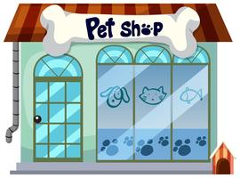 Ein Geschäft für Haustiere auf weißem Hintergrund