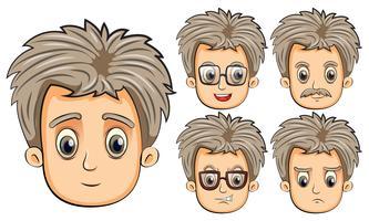Man med olika ansiktsuttryck vektor