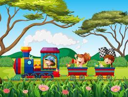 Tåg och barn vektor
