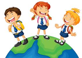 Tre ungar i skoluniform stående på jorden vektor