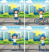 Vier Kinder mit Helm und Fahrrad auf der Straße