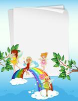Pappersdesign med feer och regnbåge