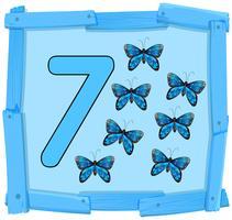 Nummer sieben auf hölzernen Banner vektor