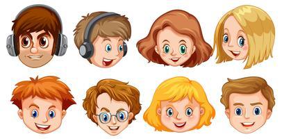 Set av hipster ansikte vektor