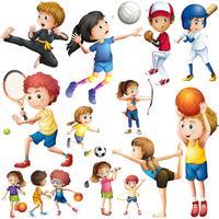 Barn gör olika slags sport