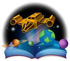 Sciene bok med rymdskepp och solsystem