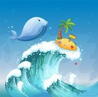 En högvåg med en delfin och en ö med en pilbräda