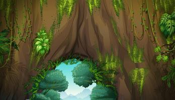 Natur scen med grotta och träd