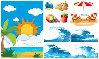 Strandszene mit großen Wellen und Ausrüstungen