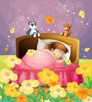 En tjej som sover i sängen vektor