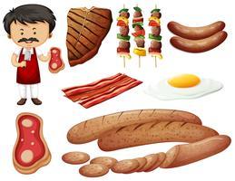 Slaktare och köttprodukter vektor