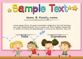 Zertifikat mit glücklichen Kindern Hintergrund vektor
