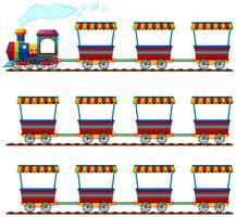 Tåg och många vagnar på spår