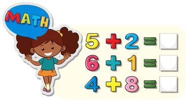 Math kalkylblad för tillägg