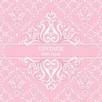 Schablonenkarte mit abstraktem barocken königlichen Hintergrund in den rosa und weißen Farben.