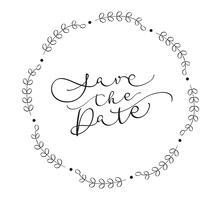 Speichern Sie den Datumstext auf weißem Hintergrund. Kalligraphie, die Vektorillustration EPS10 beschriftet