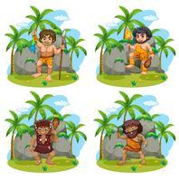 Viele Höhlenmenschen mit verschiedenen Waffen vektor