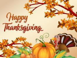 Lycklig tacksägelsekort mall vektor