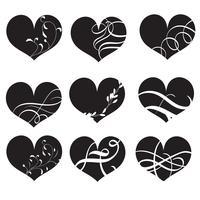 uppsättning svarta vektor hjärtan med blomstra. Handritad vintage kalligrafi bokstäver Vektor illustration EPS10