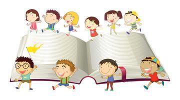Jungen und Mädchen, die auf Buch laufen vektor