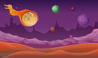 Bakgrundsscen med komet och andra planeter i rymden
