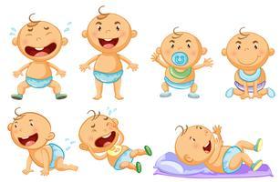 Baby pojke i olika handlingar