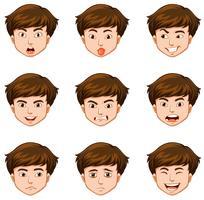 Man med olika ansiktsuttryck