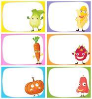 Etikettendesign mit Gemüse und Früchten